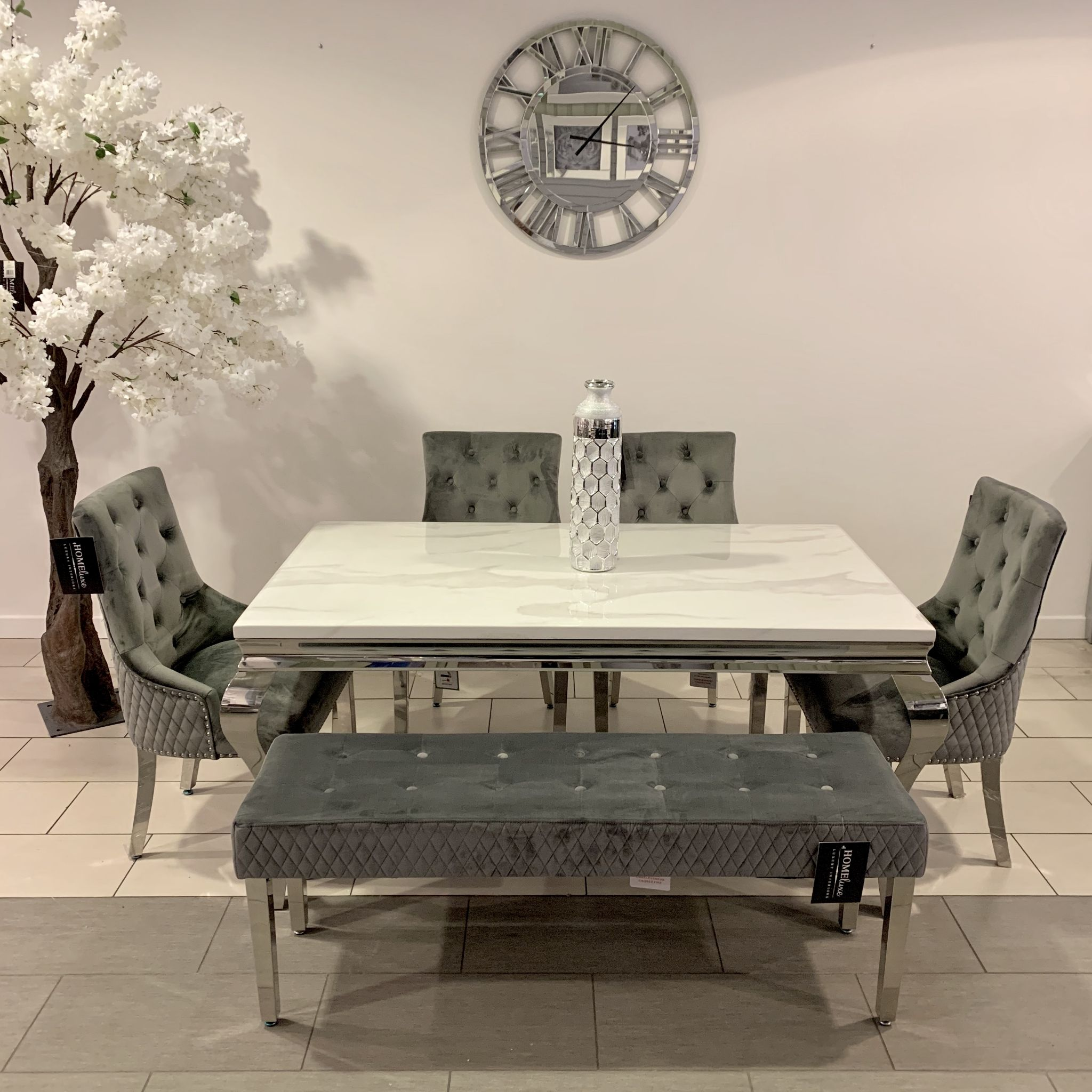 1 6m Marble White Dining Table Minister Grey Chairs
