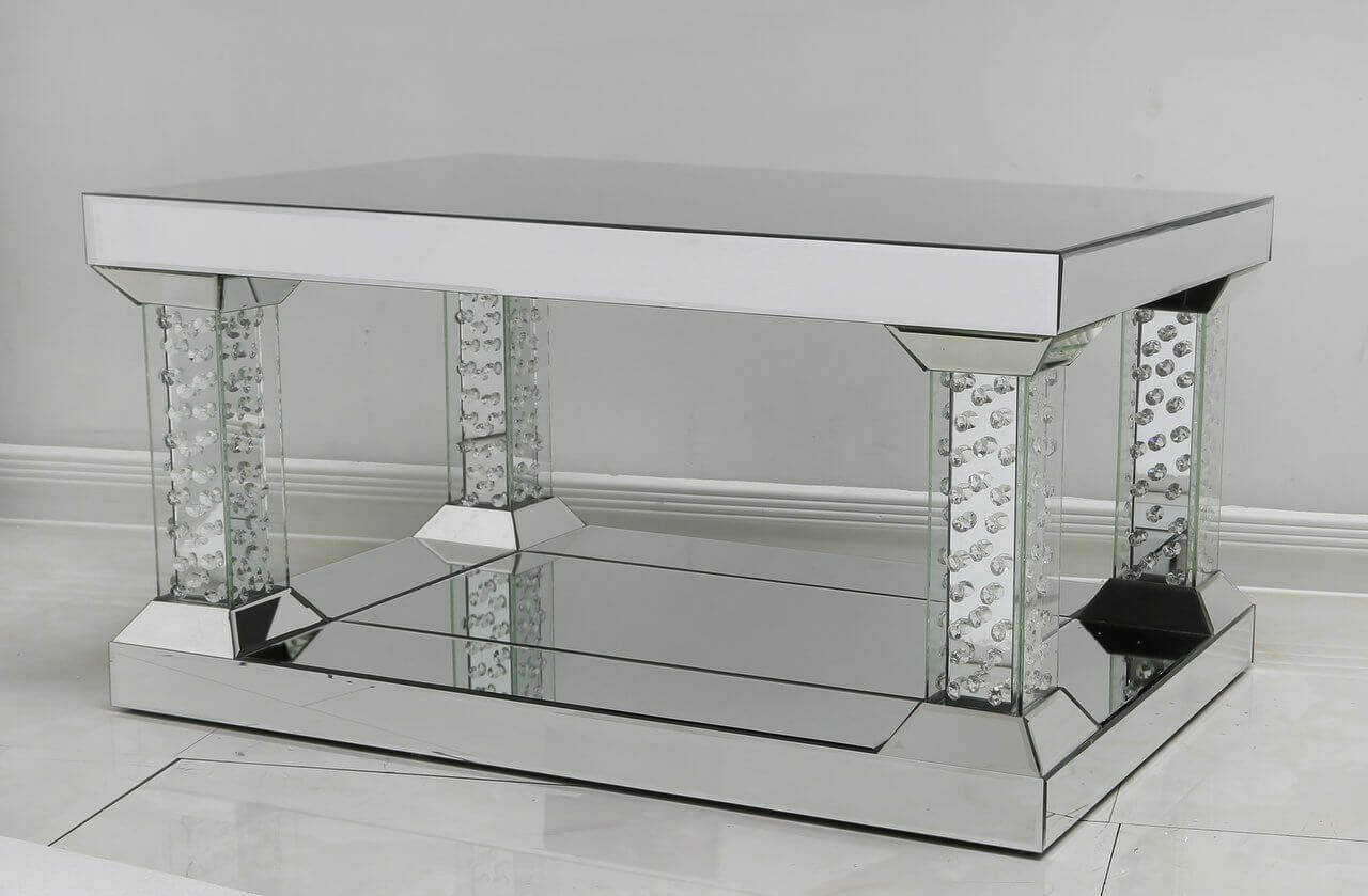 windsor mirror glass coffee table with column legs 561 p