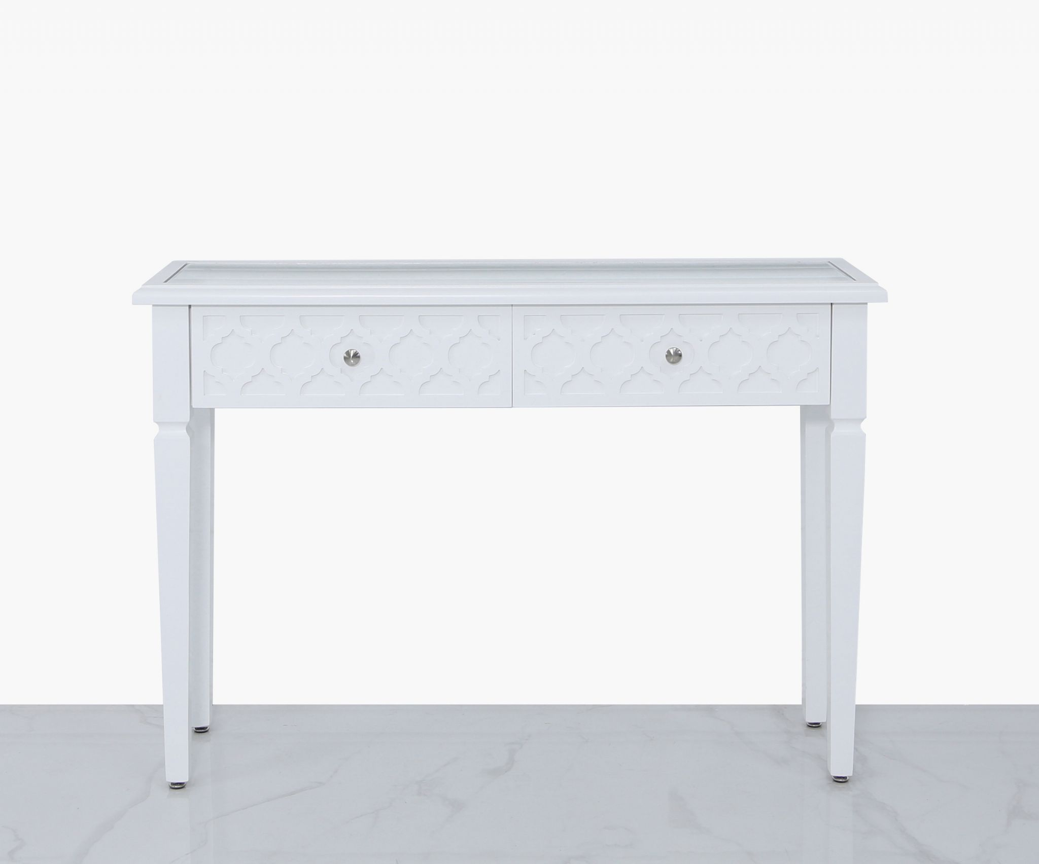 bravia 2 drawer console table white wood mirror top