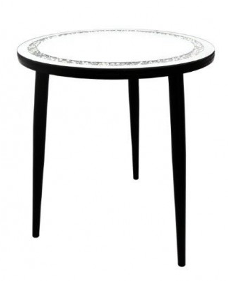 Crystal Stone Mirror Round Side Table