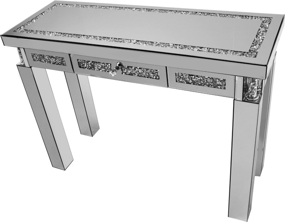 Falcon Crushed Stone Mirror Console Table Drawer