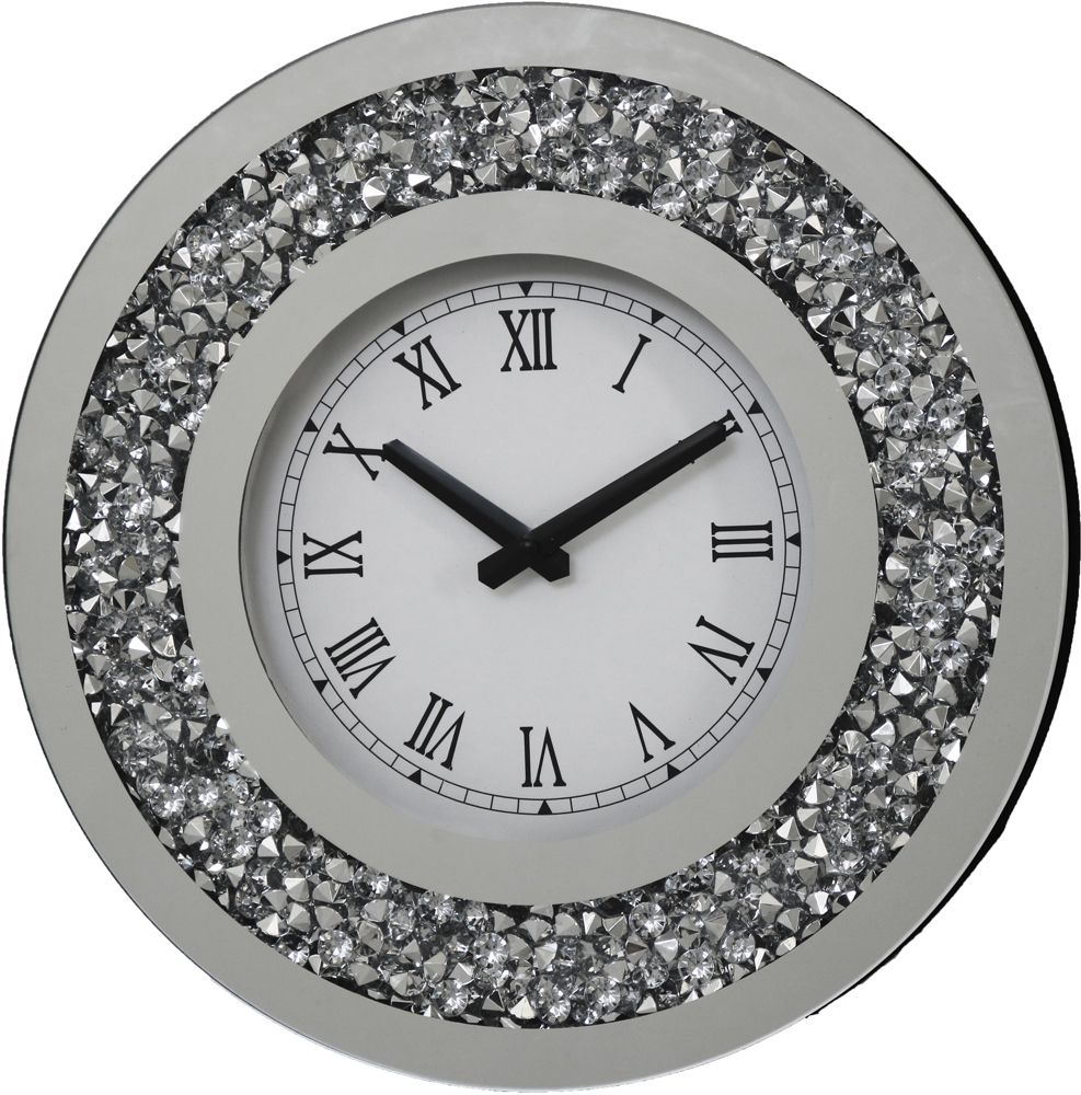 Falcon Crushed Stone Mirror Round Clock
