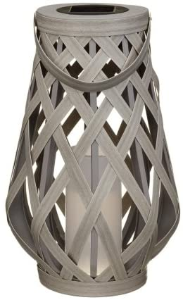 Roma Lantern Wicker Weave Solar Light Small Grey