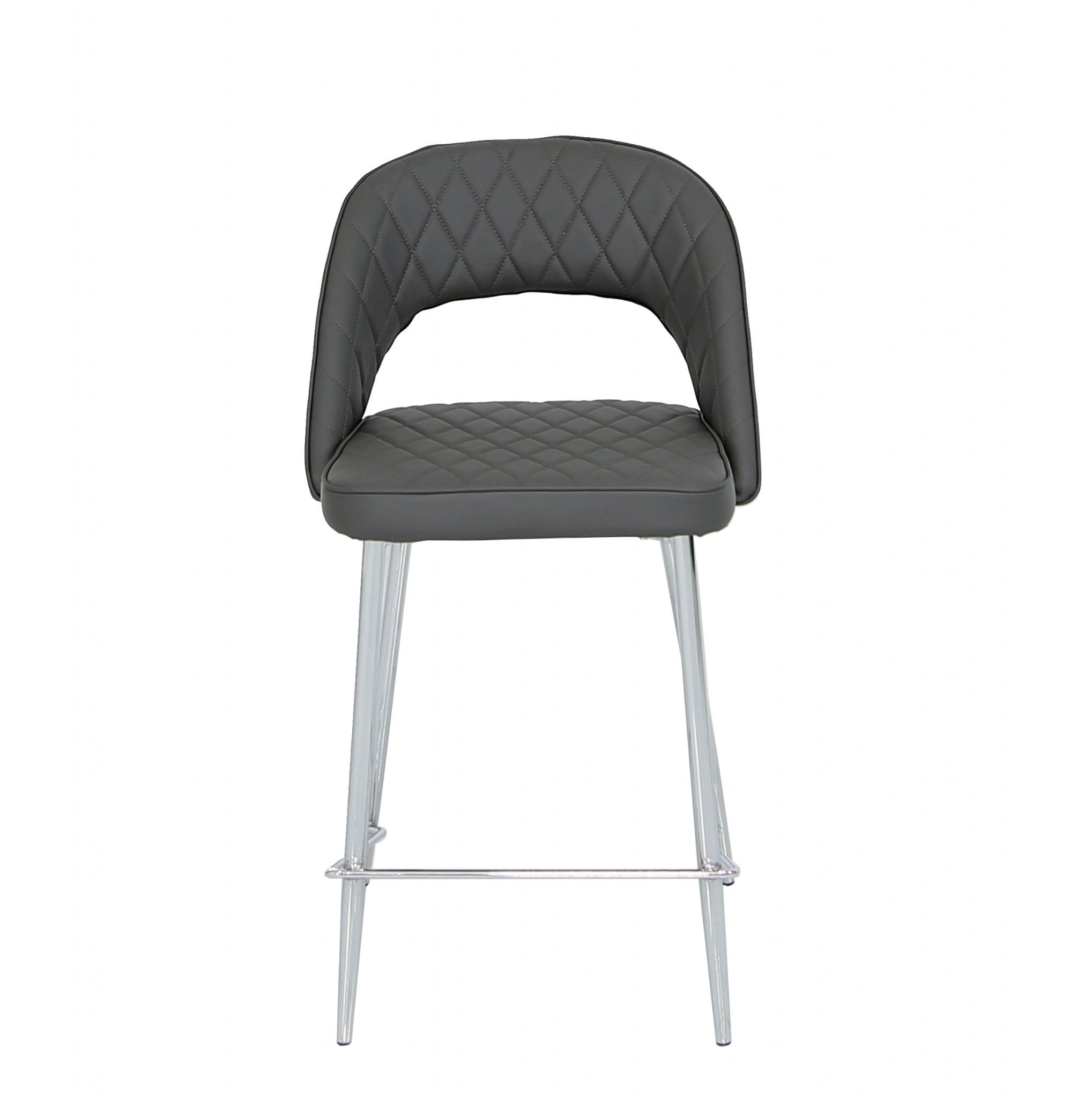 Picture of: Selby Grey Bar Stool Chrome Leg