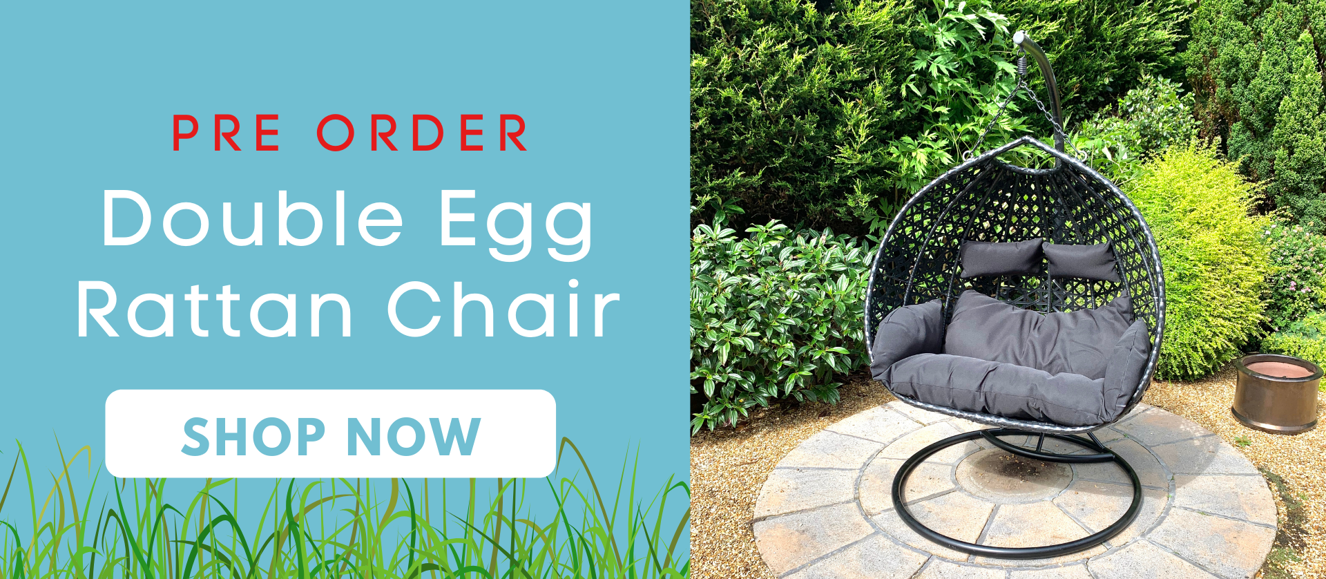 Egg chair rattan black with cushions